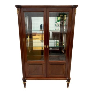 1910s Antique Louis XVI Style Mahogany Bookcase / Vitrine For Sale