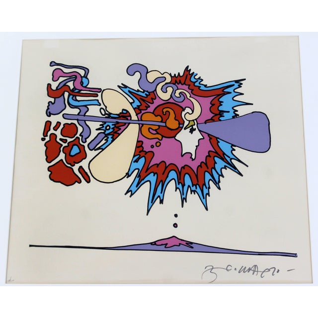 Peter Max Mid-Century Modern Framed Litho Winter Sunshine Peter Max Signed Numbered 1970s For Sale - Image 4 of 8