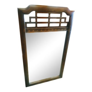 Vintage Wood Ming Mandarin Style Chinoiserie Regency Pagoda Top Wall Mirror For Sale