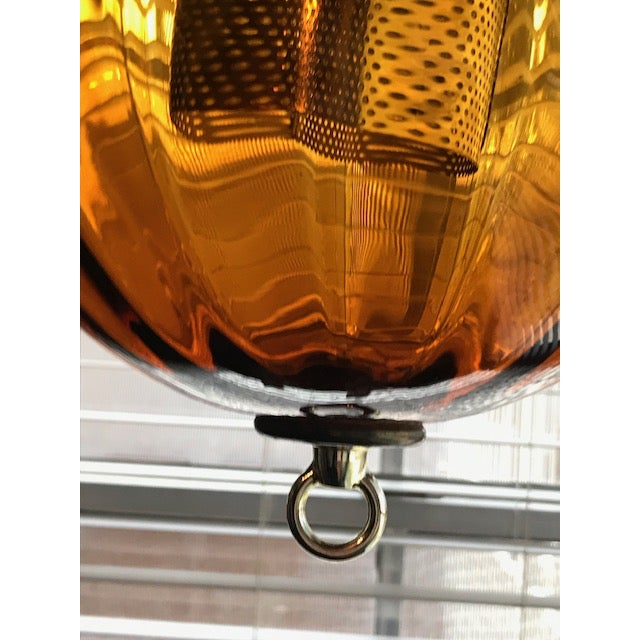 Blown Glass 1960s Swag Hanging Amber Blown Glass Globe Pendant Lights - a Pair For Sale - Image 7 of 11