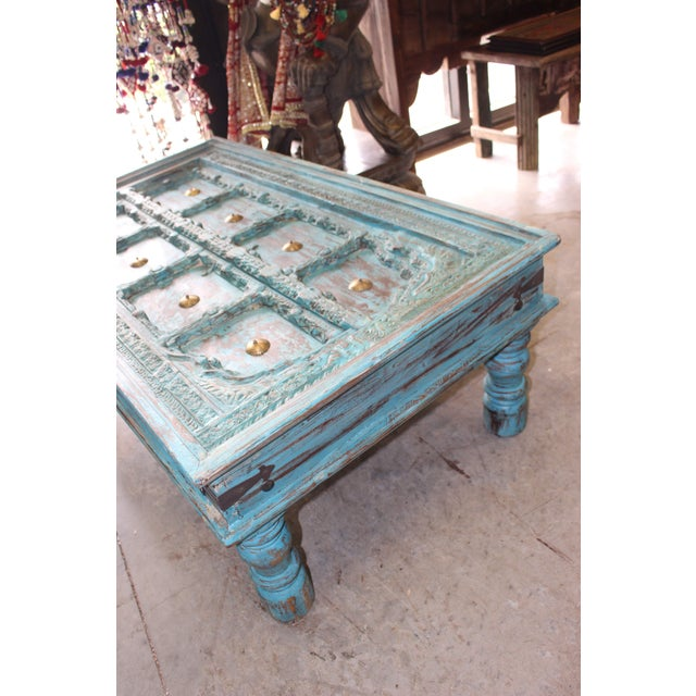 Distressed Solid Wooden Rustic Coffee Table For Sale - Image 4 of 6