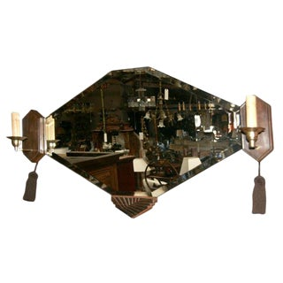 Art Deco Wall Mirror with Sconces For Sale