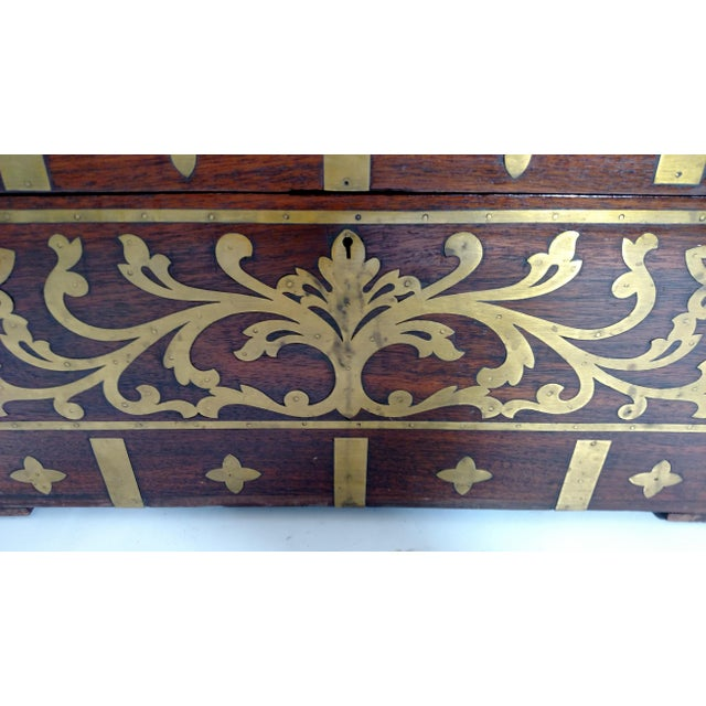 Vintage Brass and Rosewood Indian Chest - Image 7 of 9
