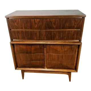 Mid Century Modern Walnut Diamond Front Highboy Dresser by United For Sale