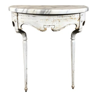 19th Century Cast Iron Demilune Marble Top Console For Sale