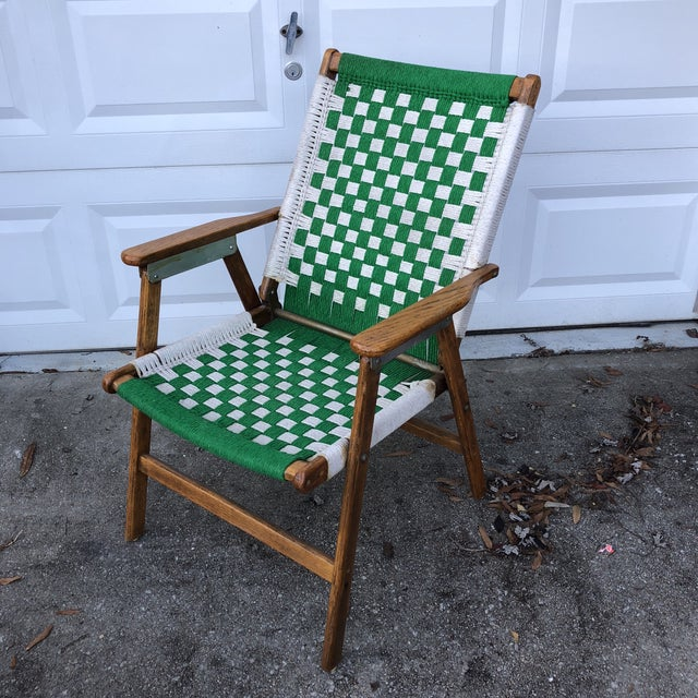 Wood 1970s Antique Green Woven Scandinavian Style Folding Wooden Chair For Sale - Image 7 of 7