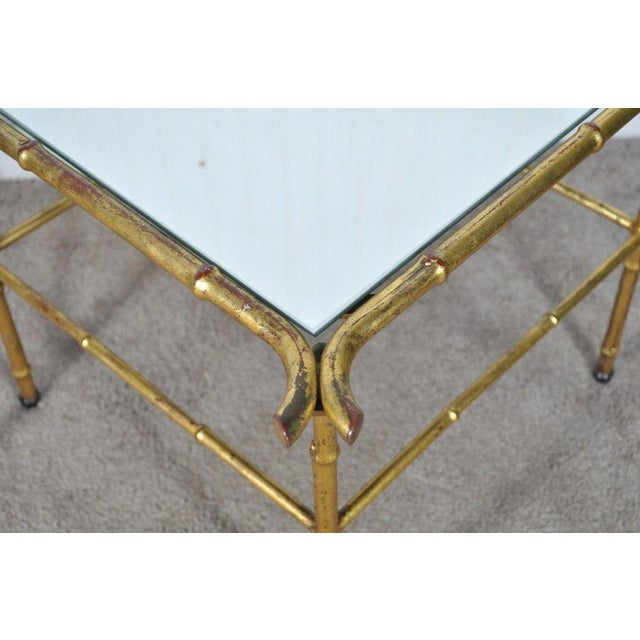 Pair Vintage Italian Hollywood Regency Faux Bamboo Gold Gilt Mirror Side Tables For Sale In Philadelphia - Image 6 of 12