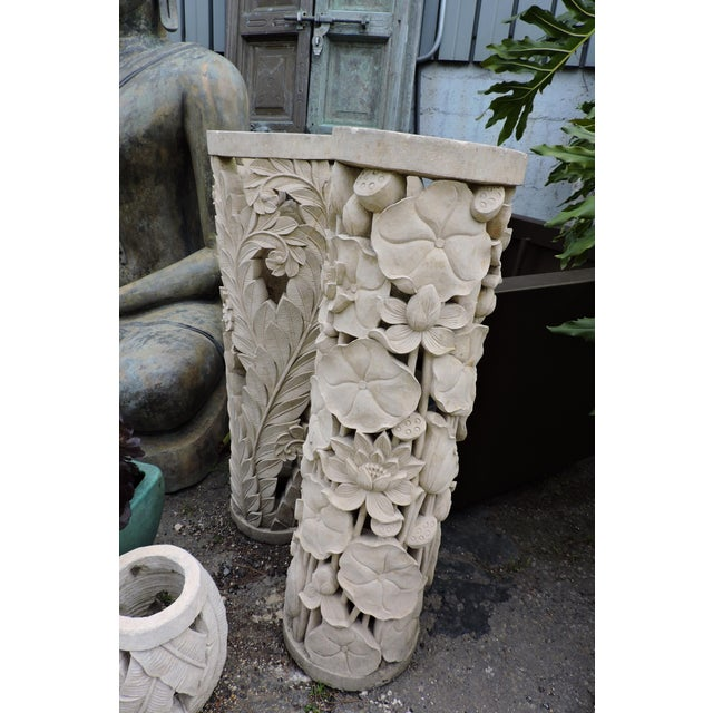 Balinese Carved Stone Pedestal With Fern Motif For Sale In San Francisco - Image 6 of 7