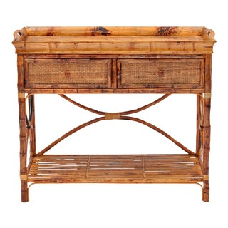 English Serving Console, Brown, Rattan For Sale