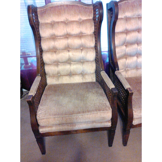 Lewittes High Wingback Chairs, Cane Sides - Pair - Image 6 of 11