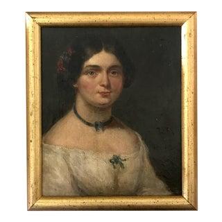 Original Antique Miniature Portrait of a Woman C.1820 Oil on Canvas For Sale