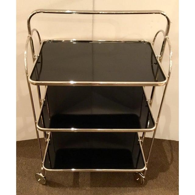 Stylish Global Views modern nickel plaza bar trolley, three black tiers, showroom floor sample, original retail $2997