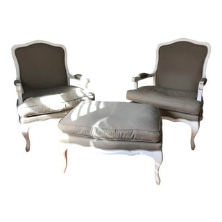 Bergère Style Chairs & Ottoman - Set of 3 For Sale