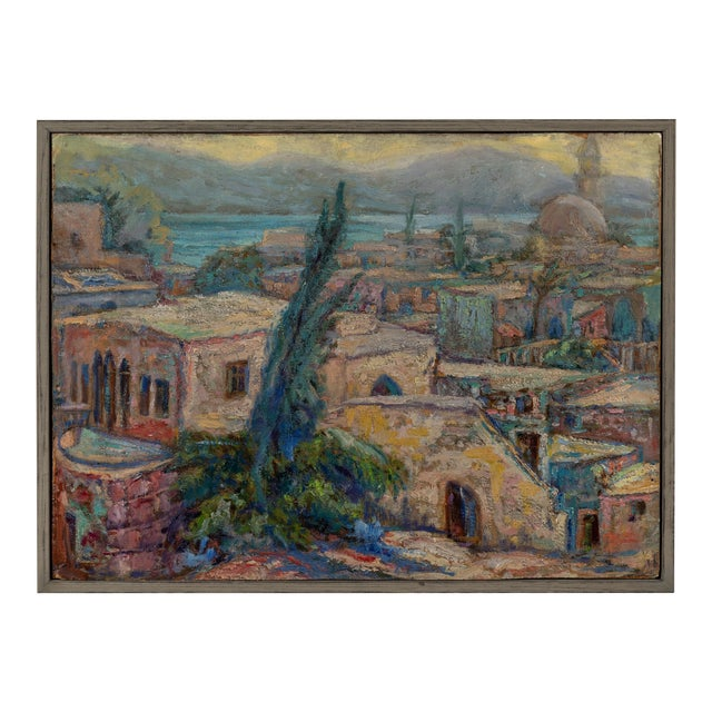 Vintage North African Waterfront Oil Painting For Sale