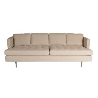 Brown Tufted Sofa with Brass Legs For Sale