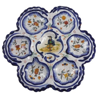 19th Century French Faience Breton Oyster Plate