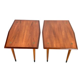 Dux of Sweden Teak and Walnut Side Tables Brass Accents For Sale
