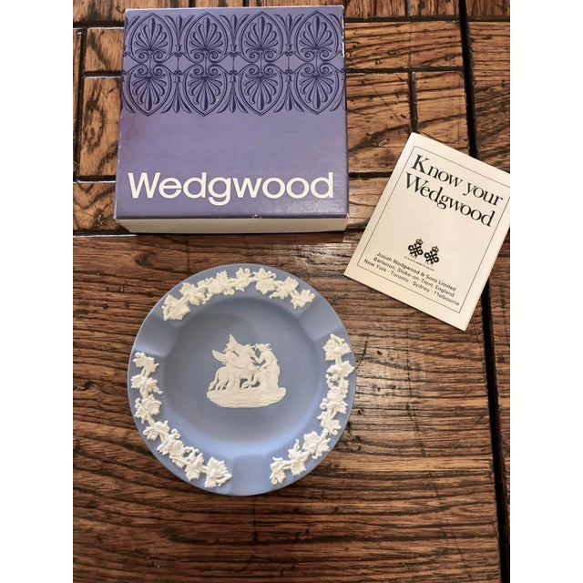Wedgwood Jasperware Pale Blue Round Ashtray Queensware W/Original Box. This has never been used.