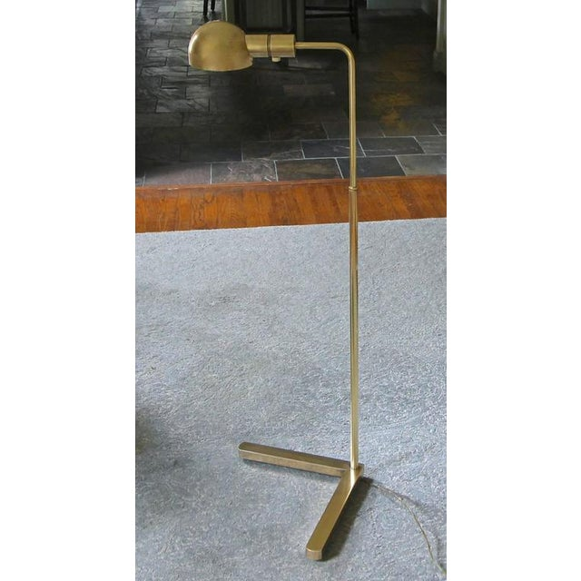 Casella Brass V Base Floor Lamp For Sale - Image 9 of 10
