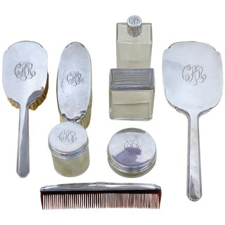 Antique Sterling Silver Engraved Ladies' Vanity Dressing Set For Sale
