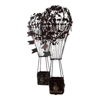 19th Century French Metal/Wire Hot Air Balloon Statues- a Pair For Sale