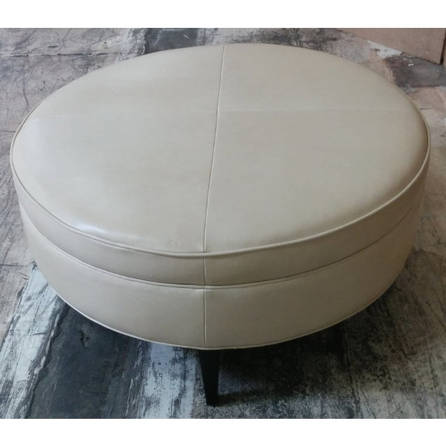 Leather Ottoman Kravet Leather Rushmore-Putty - Image 7 of 7