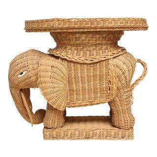 Vintage Rattan Wicker Elephant Side Table