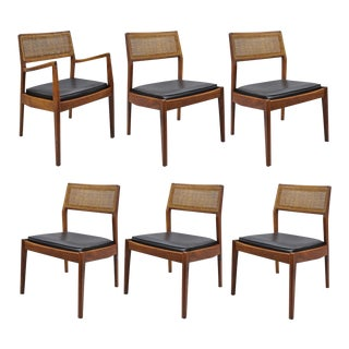 Vintage Mid-Century Jens Risom Walnut & Cane Back Dining Chairs - Set of 6 For Sale