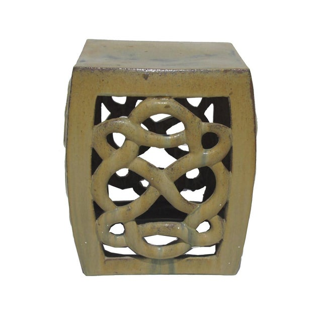 Cream Yellow Ceramic Clay Twist Knot Square Stool Ottoman - Image 2 of 5