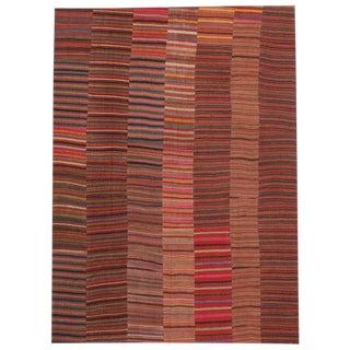 Mid Century Modern Turkish Jajim Kilim Flat-Weave Rug- 9′4″ × 12′10″ For Sale