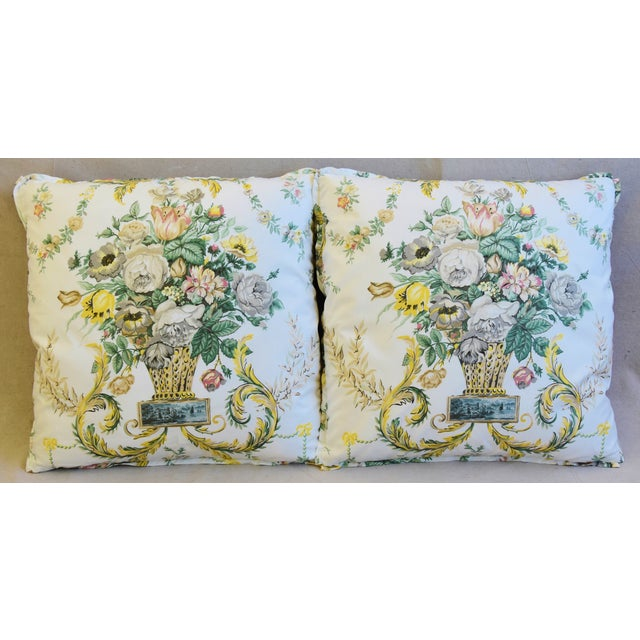 Pair of custom-tailored reversible designer Schumacher Fabric accent pillows. Pillow fronts are a vintage/never used...
