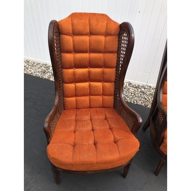 1970s Hollywood Regency Orange Velvet Canes Wingback Chairs - a Pair For Sale In New York - Image 6 of 10