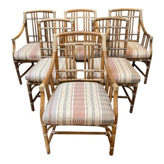 McGuire Coastal Bamboo Framed Chairs, Set of Six For Sale