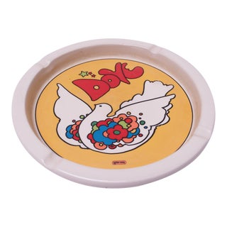 "Mid-Century Peter Max ""Dove"" Ashtray / Decorative Plate for Iroquois China of New York For Sale"