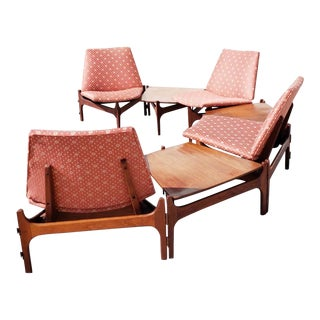 Mid Century Modern Modular Chair Sectional System Set John Keal for Brown Saltman For Sale