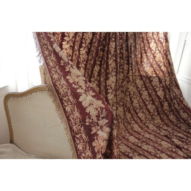 Textile Antique 1870s French Large Printed Cotton Madder Brown Passementerie Bed Curtain For Sale - Image 7 of 9