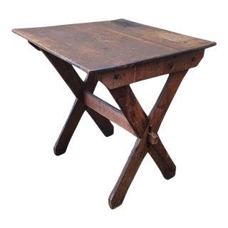 Antique Primitive Sawbuck Cooks Tea Table For Sale