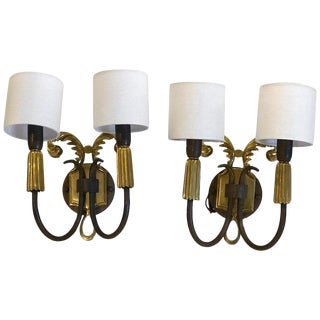 Pair of French Art Deco Gilt and Patinated Bronze Wall Sconces For Sale
