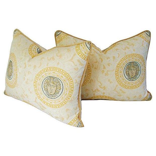 Custom Italian Versace-Style Medusa Pillows - Pair - Image 7 of 9