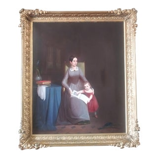 """Early 19th Century """"Mother and Child"""" Portrait Oil Painting, Framed For Sale"""