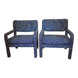 Baughman Style Open Arm Parsons Chairs- A Pair
