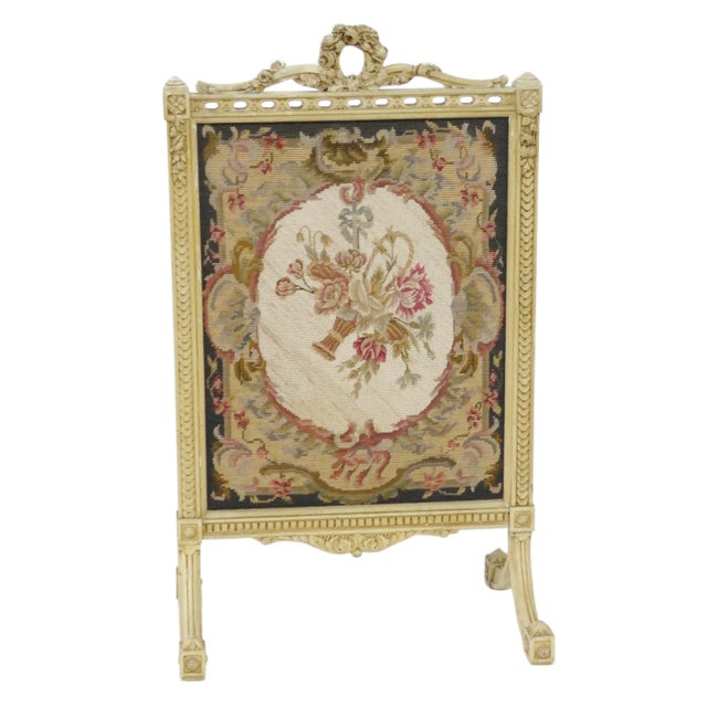 Floral Needlepoint Fire Screen - Image 1 of 6