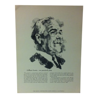 """1962 """"Gilbert Lewis - on Practical Aims"""" The Rand Corporation Famous People in History Print For Sale"""