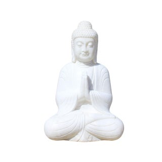 Chinese Oriental White Marble Stone Carved Sitting Buddha Figure For Sale