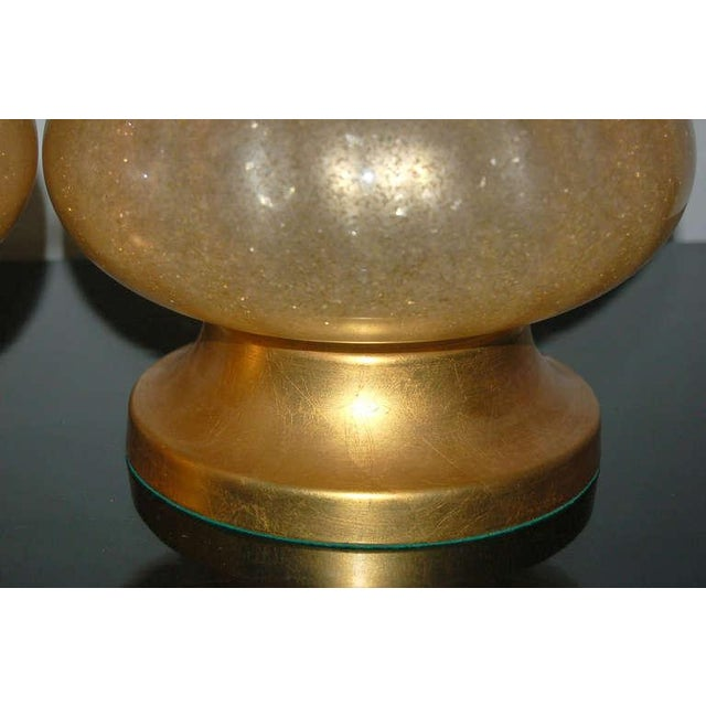 Brass Vintage Murano Glass Eglomise Table Lamps in Gold For Sale - Image 7 of 10