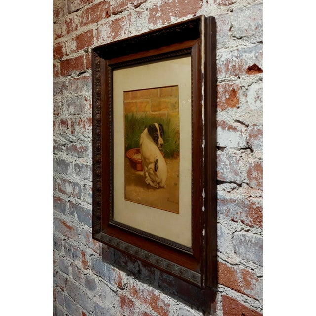 """Glass Late 19th Century Antique Edmund Caldwell """"Jack Russel Puppy With A Stag Beetle"""" Painting For Sale - Image 7 of 9"""