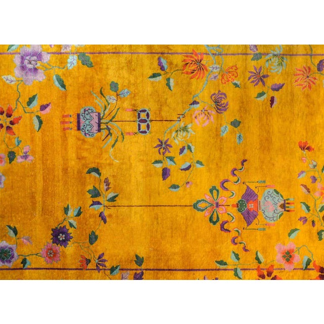 1920s Vivid Early 20th Century Chinese Art Deco Rug For Sale - Image 5 of 12