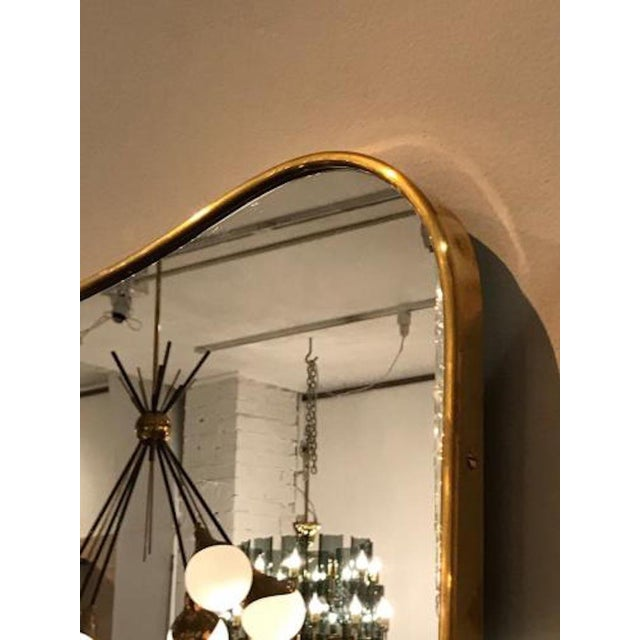 1950s 1950s Gio Ponti Large Scale Mid Century Brass Wall Mirrors - a Pair For Sale - Image 5 of 6