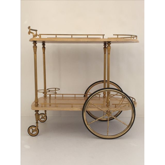 Aldo Tura Parchment Bar Cart Drinks Trolley For Sale - Image 11 of 11