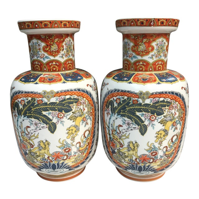 Ardalt Chinoiserie Hand Painted Vases - A Pair For Sale
